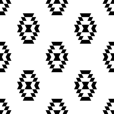 Black and white aztec ornament geometric ethnic seamless pattern, vector