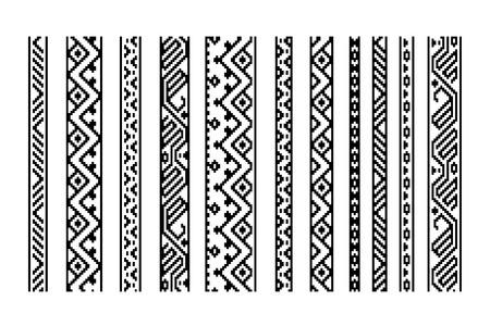 Black and white ethnic geometric aztec seamless borders set, vector