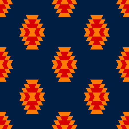 kilim: Colorful red yellow blue aztec ornament geometric ethnic seamless pattern, vector