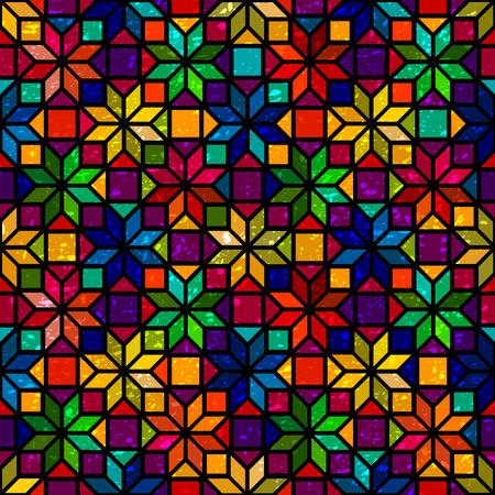 별 모양 다채로운 기하학적 스테인드 글라스 원활한 패턴, 벡터 일러스트
