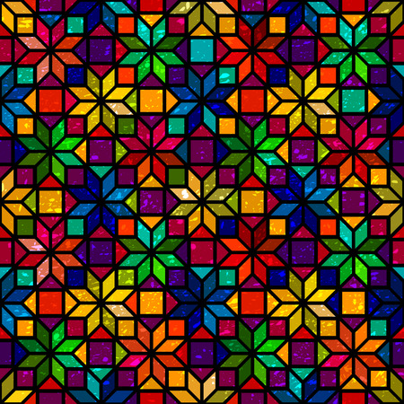Star shape colorful geometric stained glass seamless pattern, vector Ilustração