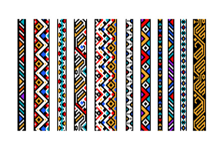 Colorful ethnic geometric aztec seamless borders set, vector Vectores