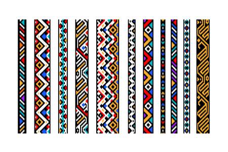 Colorful ethnic geometric aztec seamless borders set, vector Stock Illustratie