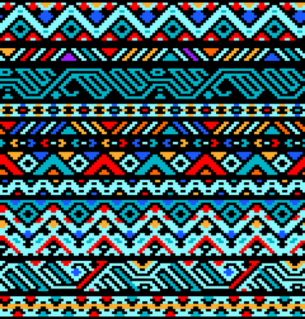 カラフルなエスニック幾何学的なアステカ シームレス パターン、ベクトル