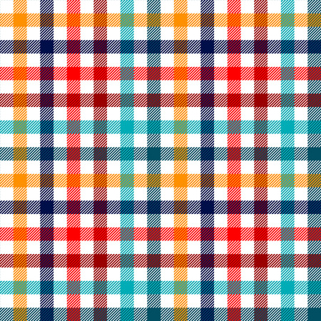 Colorida tela a cuadros guinga a cuadros patrón transparente en blanco rojo y amarillo azul, vector de impresión
