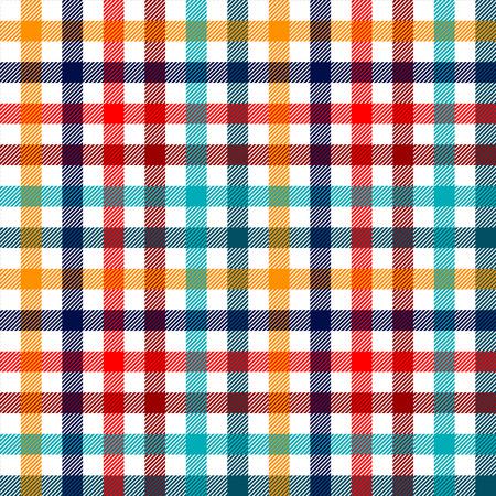 rayas de colores: Colorida tela a cuadros guinga a cuadros patrón transparente en blanco rojo y amarillo azul, vector de impresión