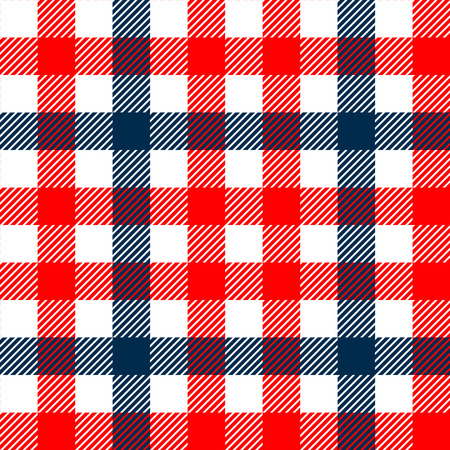red plaid: Checkered gingham plaid fabric seamless pattern in blue white and red, vector print