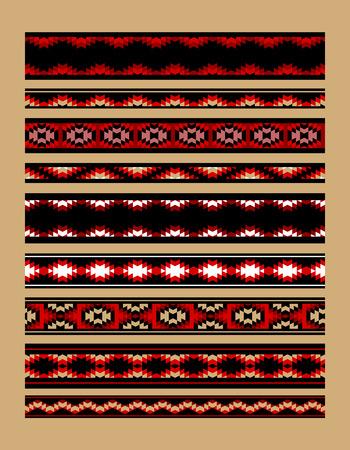 red line: Colorful red white and black aztec ornaments geometric ethnic seamless border set, vector collection Illustration