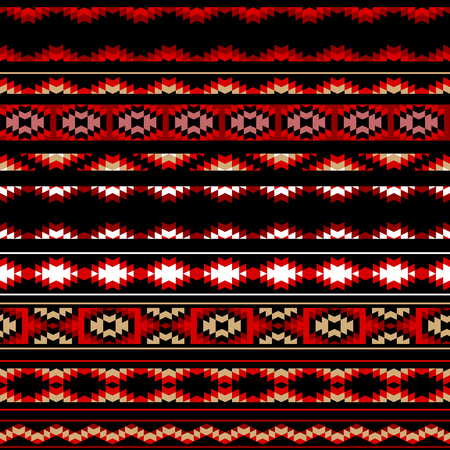 kilim: Colorful red white and black aztec striped ornaments geometric ethnic seamless pattern, vector background