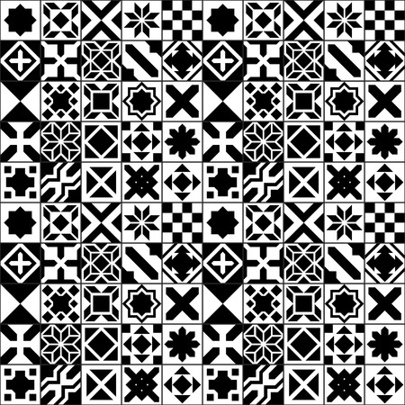 Black and white moroccan tiles seamless pattern, vector background
