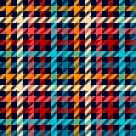 Colorful checkered gingham plaid fabric seamless pattern in blue white red and yellow, vector
