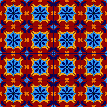 mexican background: Mexican stylized talavera tiles seamless pattern, vector background