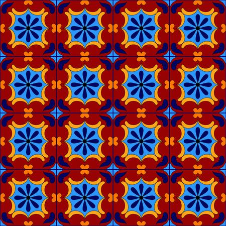 talavera: Mexican stylized talavera tiles seamless pattern, vector background