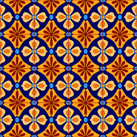 Mexican stylized talavera tiles seamless pattern in blue and yellow, vector background