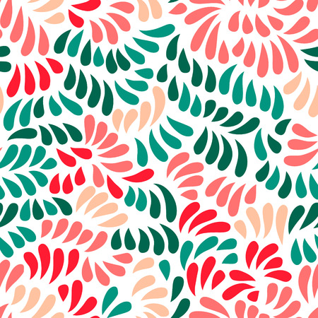 flower petals: Pastel colored stylized flowers and leaves seamless pattern, vector background Illustration