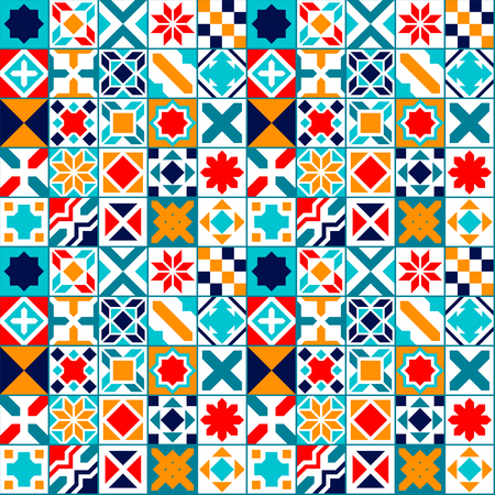 Colorful geometric tiles seamless pattern, vector background Vettoriali