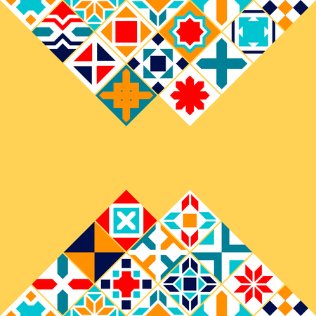 Colorful geometric tiles background, vector card template Illustration