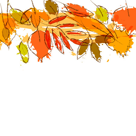 grunge tree: Colorful grunge autumn leaves stripe border on white, vector background