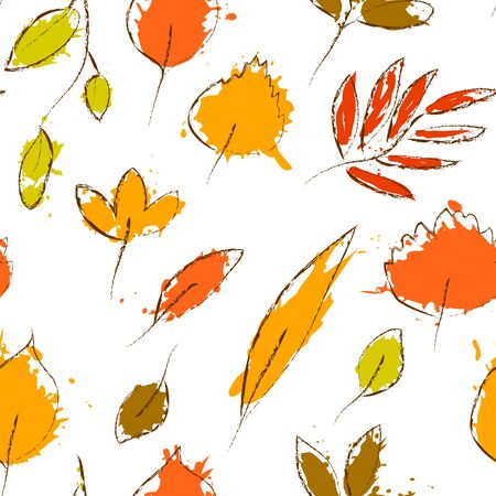 colorful grunge: Colorful autumn leaves on white grunge seamless pattern Illustration