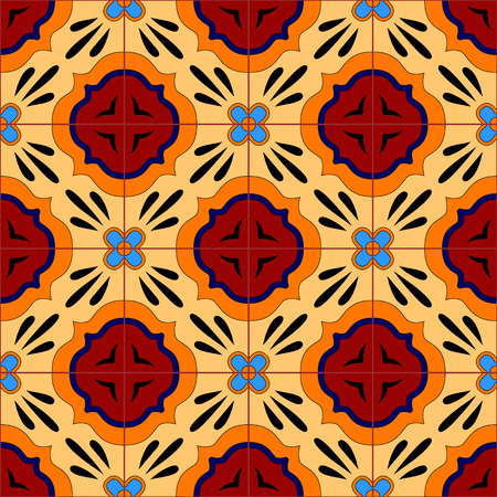 pottery: Mexican stylized talavera tiles seamless pattern, vector background