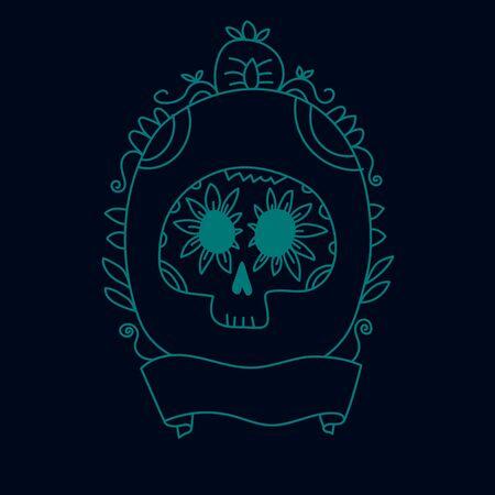 muertos: Doodle calavera sugar skull in a frame in blue, halloween or dia de muertos invitation or greeting card , vector background Illustration