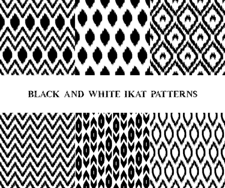 kilim: Black and white geometric ikat asian traditional fabric seamless patterns set of six, vector collection