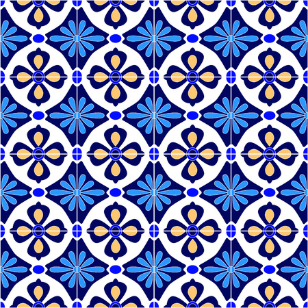 pottery: Mexican stylized talavera tiles seamless pattern in blue and white, vector background Illustration