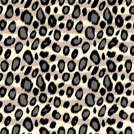 Leopard print animal print seamless pattern in black and white, vector background Vettoriali