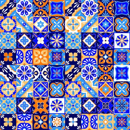 Mexicaanse gestileerde Talavera tegels naadloze patroon in blauw oranje en wit, vector achtergrond Stock Illustratie