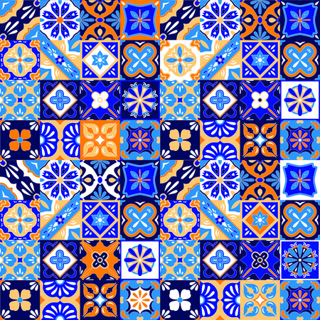 portuguese: Mexican stylized talavera tiles seamless pattern in blue orange and white, vector background