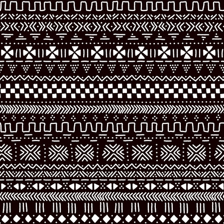 Black and white traditional african mudcloth fabric seamless pattern, vector background