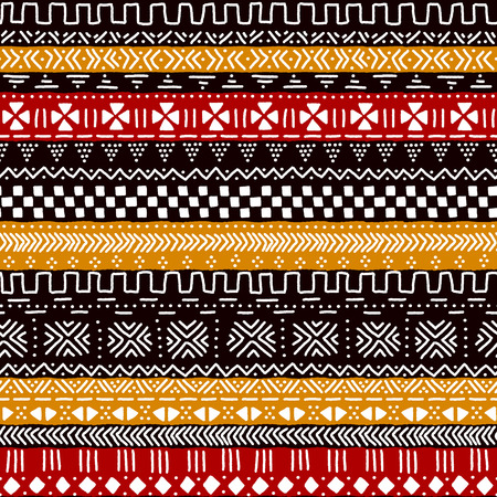 jaune rouge: Black red yellow and white traditional african mudcloth fabric seamless pattern, vector background