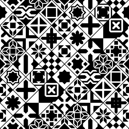 ceramic tiles: Black and white moroccan tiles seamless pattern, vector background