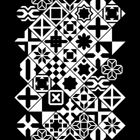 Black and white moroccan tiles vertical seamless border, vector background