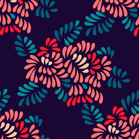 pastel colored: Pastel colored stylized flowers and leaves seamless pattern, vector background Illustration