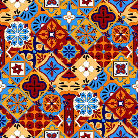 Mexican stylized talavera tiles seamless pattern in blue red and yellow, vector background Vettoriali