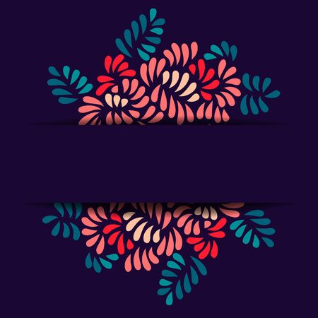 dark blue background: Pastel colored stylized flowers and leaves bouquet card template on dark, vector background Illustration