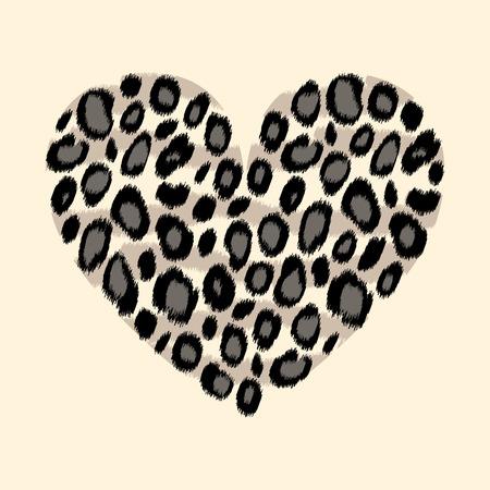 animal print: Animales impresión del corazón de piel de leopardo blanco y negro, vector de fondo