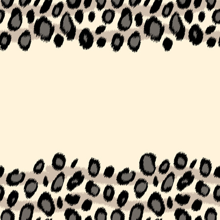 skin color: Black and white leopard skin animal print border seamless pattern, vector background Illustration