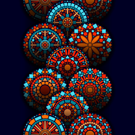 Colorful circle flower mandalas geometric seamless border in blue red and orange, vector background