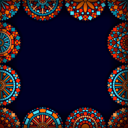 blue border: Colorful circle flower mandalas frame in blue red and orange, vector background