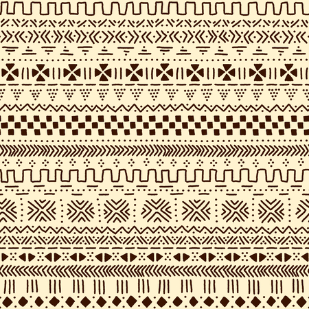 brown pattern: Beige and brown traditional ethnic african mudcloth fabric seamless pattern, vector background