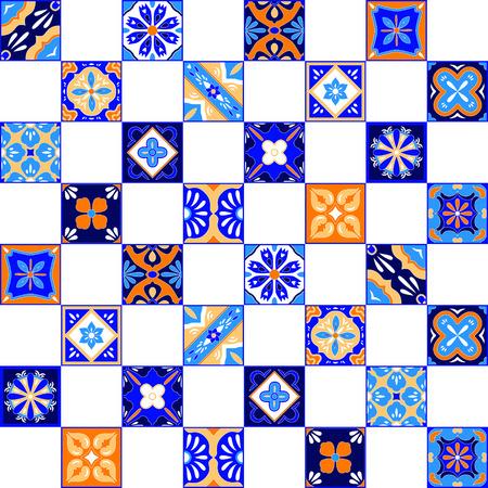 ceramiki: Mexican Talavera płytki stylizowane szwu w pomarańczowy niebieski i biały, tło wektor