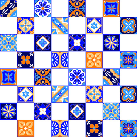 Mexican stylized talavera tiles seamless pattern in blue orange and white, vector background