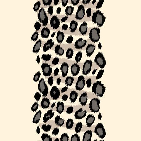 snow leopard: Black and white leopard skin animal print border seamless pattern, vector background Illustration