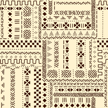 Beige and brown traditional ethnic african mudcloth fabric seamless pattern, vector background