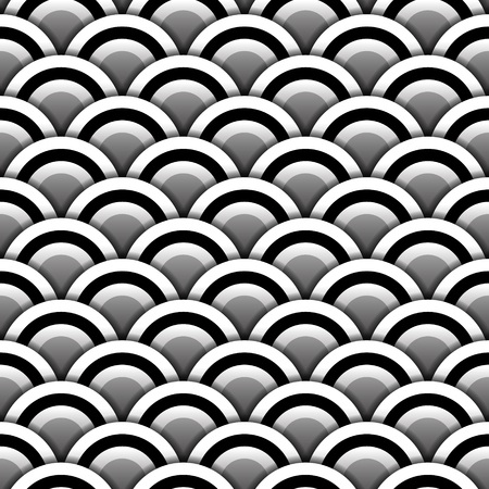 black shadow: Paper circles with shadow in black and white seamless pattern, vector background