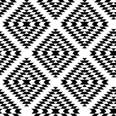 黒と白のアステカ装飾の幾何学的なエスニック シームレス パターン、ベクトルの背景