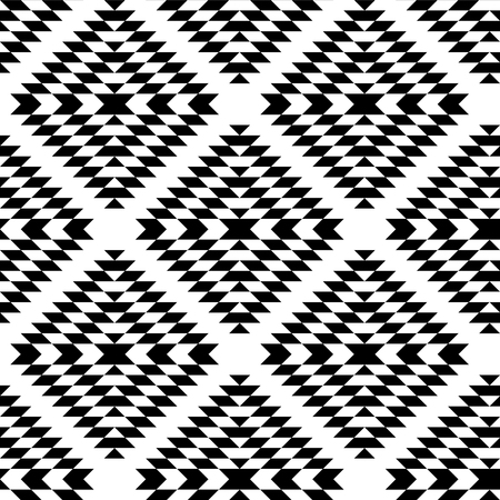 Black and white aztec ornaments geometric ethnic seamless pattern, vector background