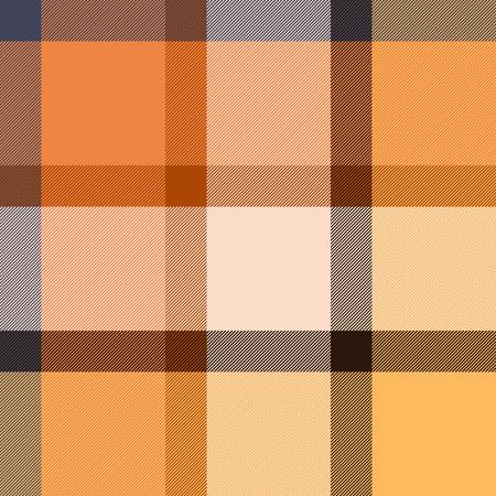 Geruite tartan stof naadloze patroon in beige en oranje, vector achtergrond